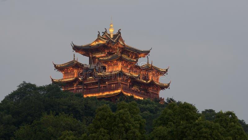 å  ' 山天风 miasta bóg pawilonu Hangzhou sławny pawilon obraz royalty free