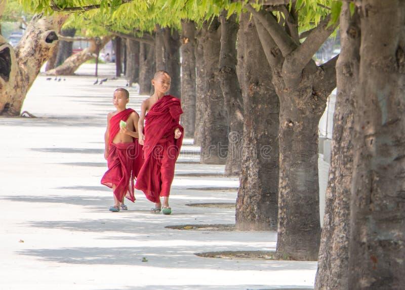 和尚的衣服的,缅甸男孩 免版税库存图片