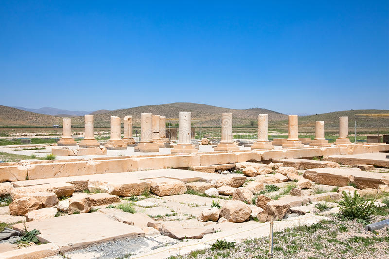 Åhörarna Hall av den Pasargadae slotten arkivfoto