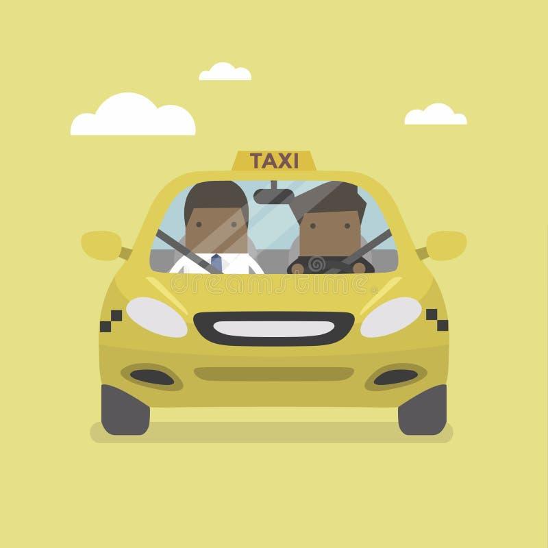 Åk taxi bil- och taxichauffören med den afrikanska affärsmanpassageraren stock illustrationer