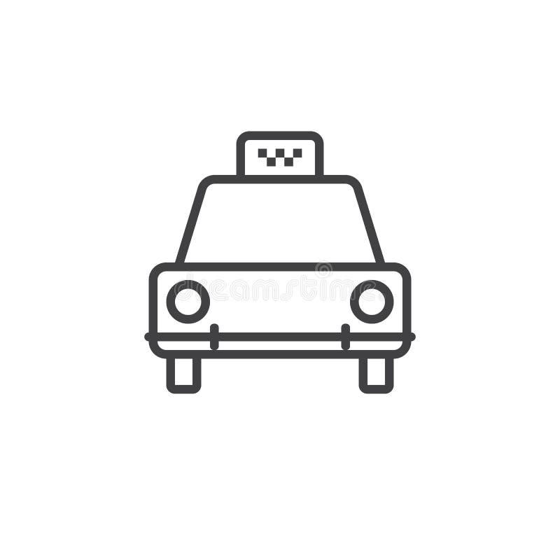 Åk taxi linjen symbolen, översiktslogoillustrationen, linjär pictogr stock illustrationer