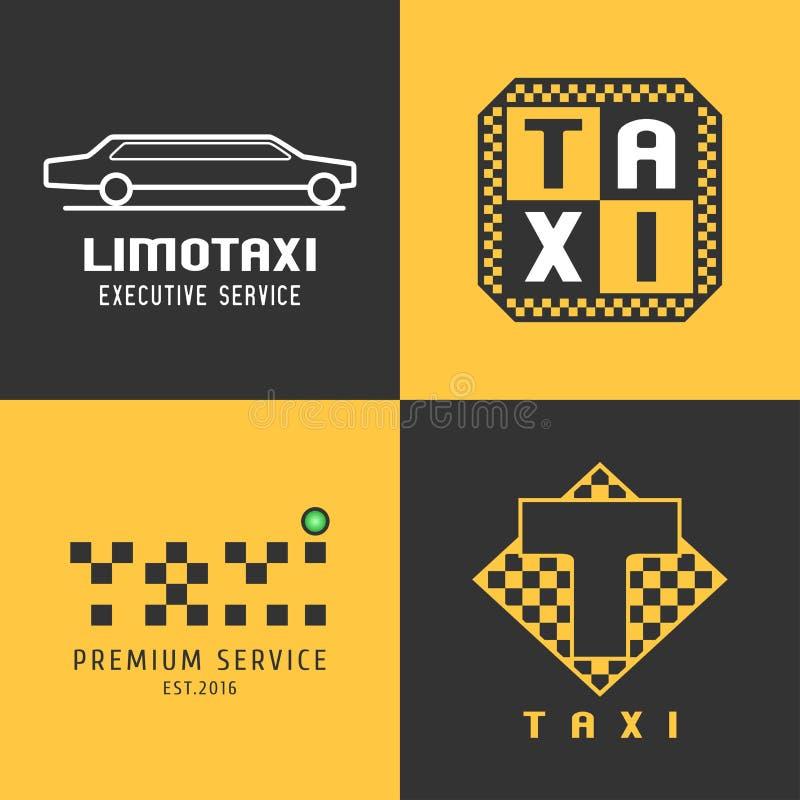 Åk taxi taxiuppsättningen av vektorlogoen, design stock illustrationer