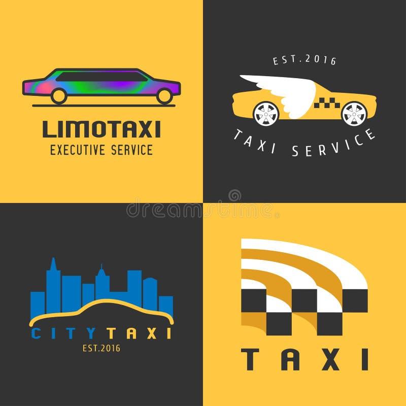 Åk taxi taxiuppsättningen av vektorlogoen, symbol stock illustrationer