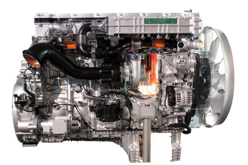 Åka lastbil dieselmotorn arkivfoton