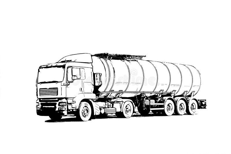 åka lastbil med en behållare för trans. av löneförhöjningar för oljaprodukter på bron arkivfoto