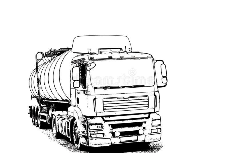 Åka lastbil med en behållare för trans. av oljaprodukter arkivbild