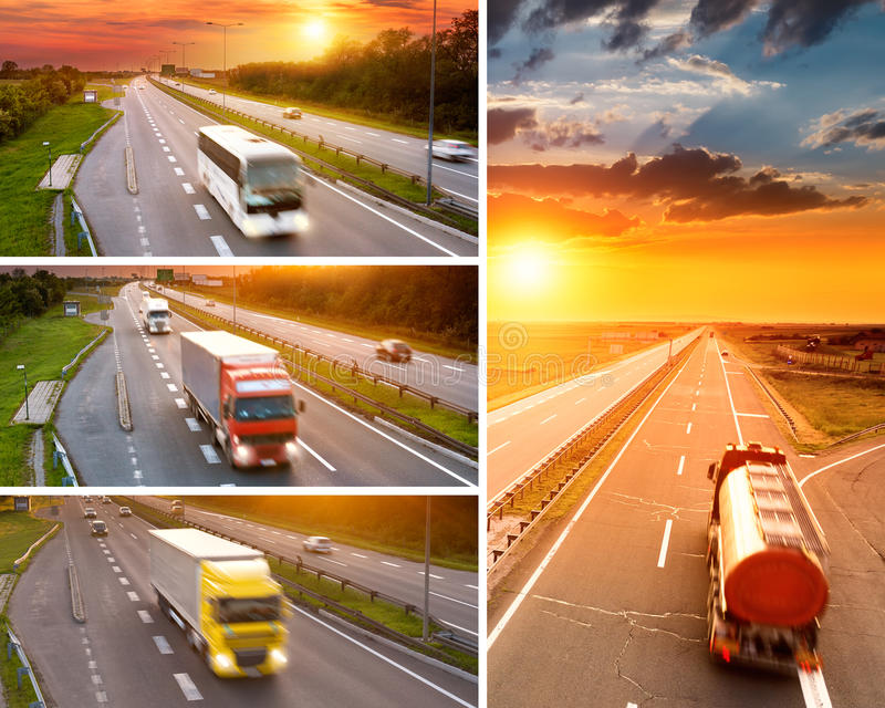 Åka lastbil och bussa på huvudvägen på solnedgången - collage arkivbilder