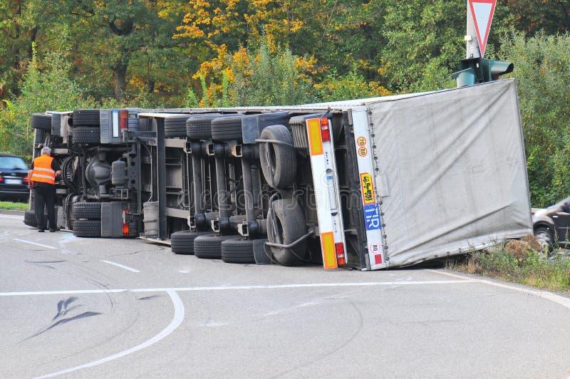 Åka lastbil olyckan royaltyfri fotografi
