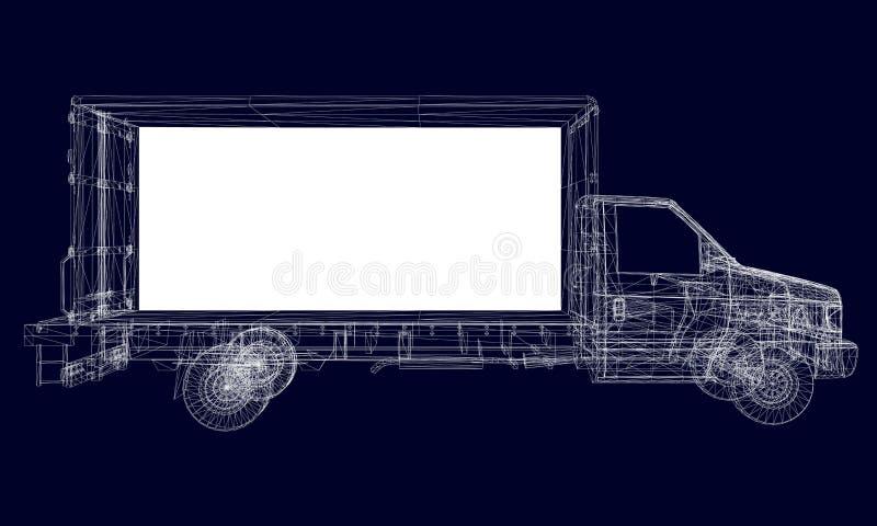 Åka lastbil wireframe av vita linjer på en mörk bakgrund Slapp fokus ocks? vektor f?r coreldrawillustration stock illustrationer