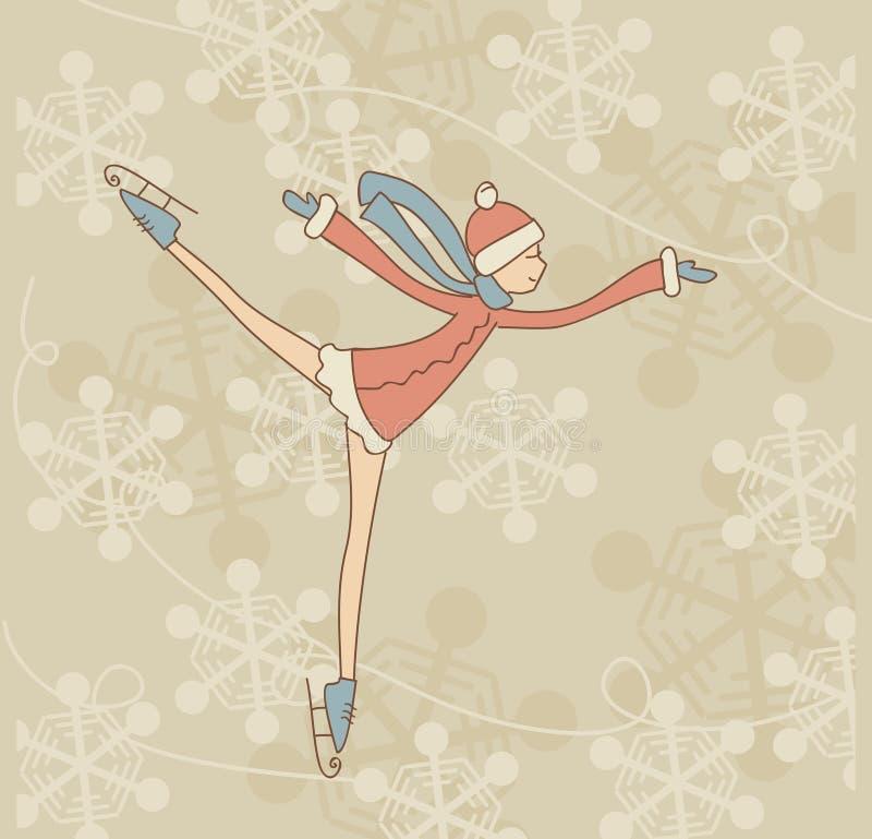 Åka skridskor den tonårs- flickan stock illustrationer