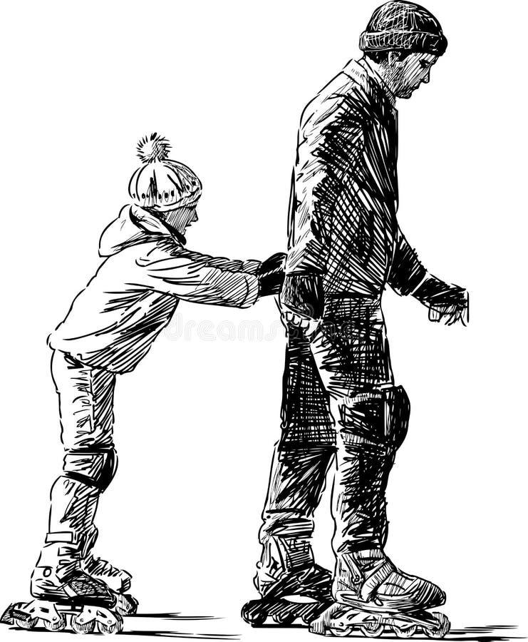 Åka skridskor för fader och för dotter royaltyfri illustrationer