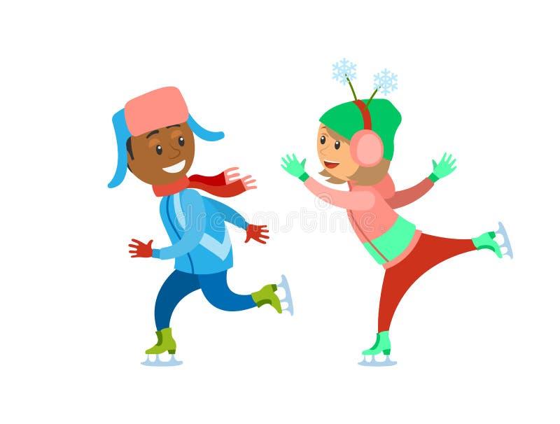 Åka skridskor isbana för barn som tillsammans spelar i vinter vektor illustrationer