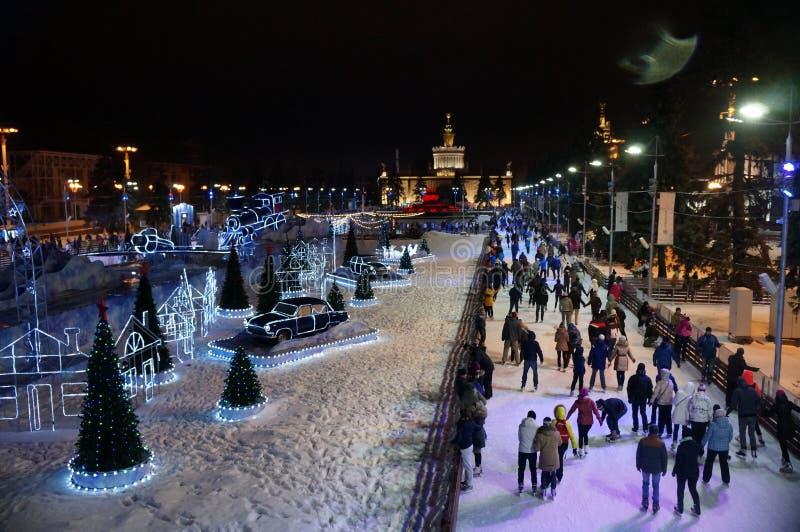 Åka skridskor isbana i Moskva på detryss utställningområdet royaltyfri bild