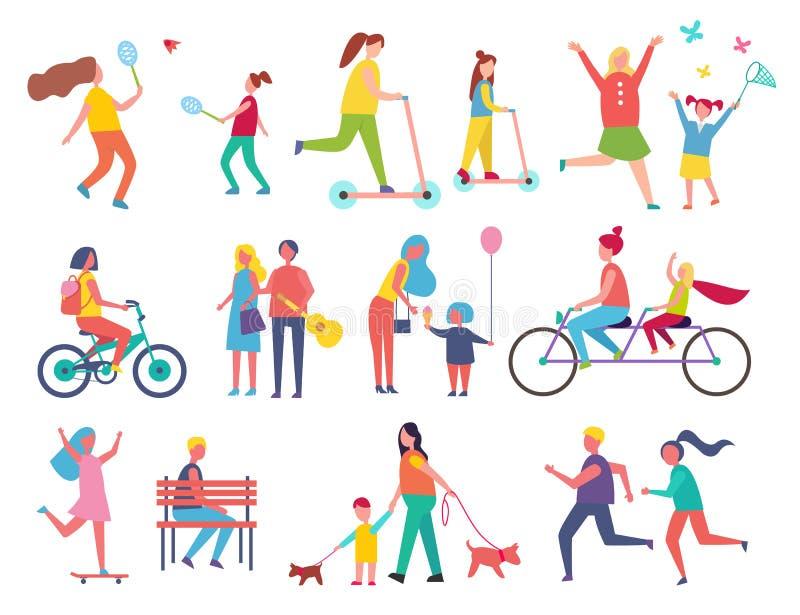 Åka skridskor personen på fastställd vektorillustration för sparkcykel royaltyfri illustrationer