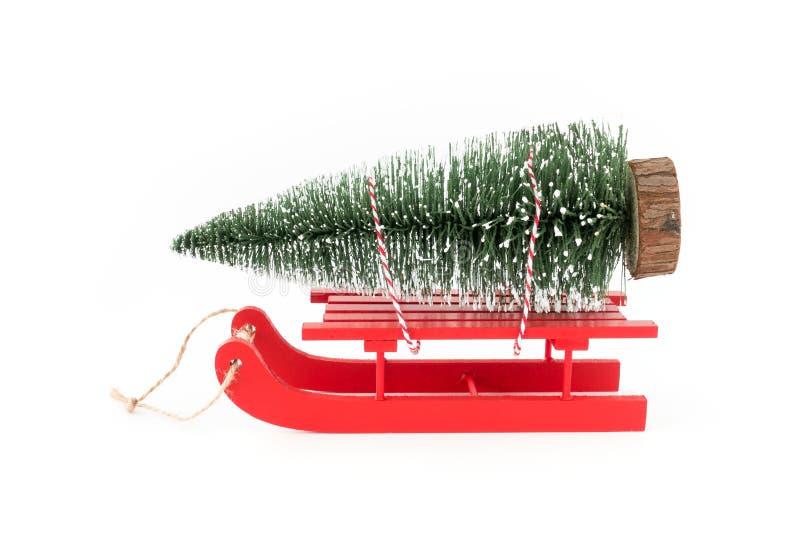 Åka släde i snö som bär ett julgranträd arkivfoto