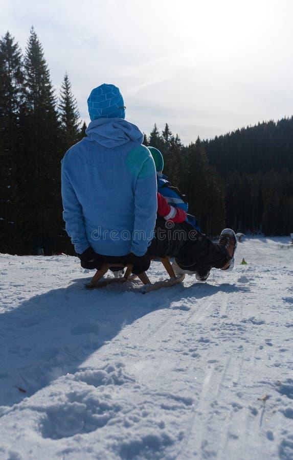 Åka släde på snön royaltyfri bild