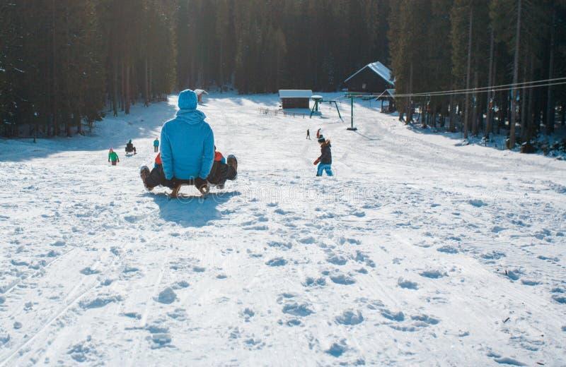 Åka släde på snön arkivbilder