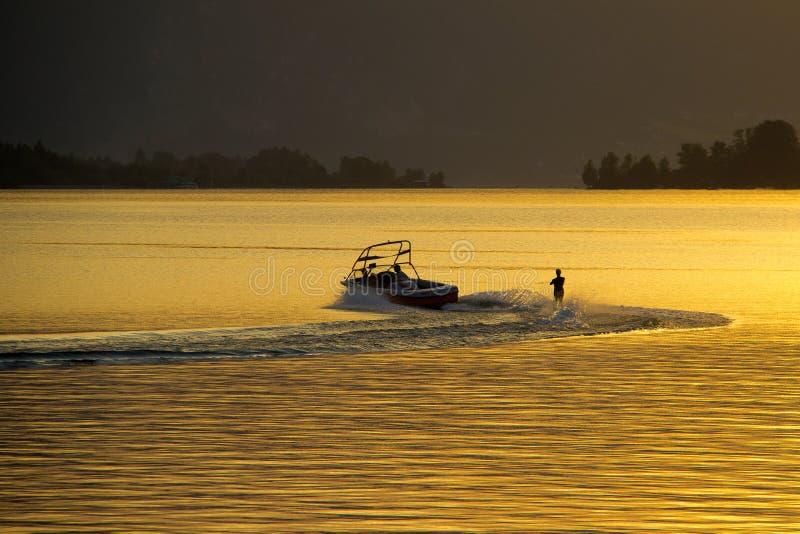 Åka vattenskidor på solnedgången royaltyfri bild