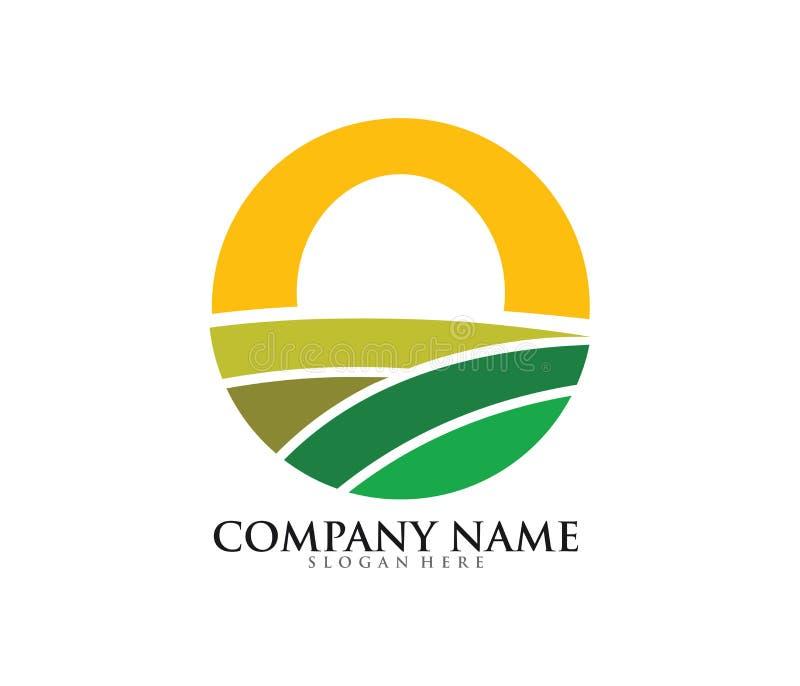 åkerbruk design för logo för landlantgårdfält royaltyfri illustrationer