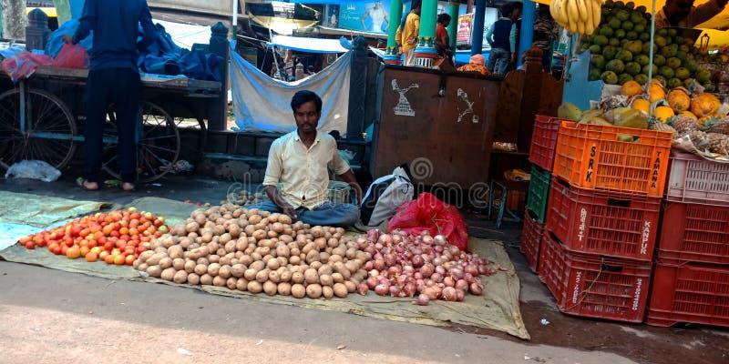 Åkerbruk godsförsäljare på den indiska gatamarknaden fotografering för bildbyråer