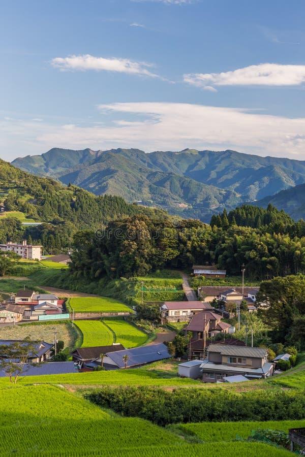Åkerbruk by i Takachiho, Miyazaki, Kyushu royaltyfria bilder