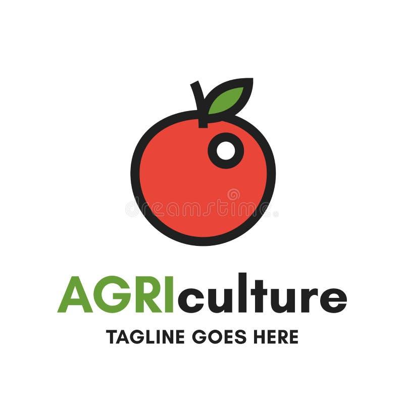 Åkerbruk logo Grapical för rött äpple på vit bakgrund vektor illustrationer