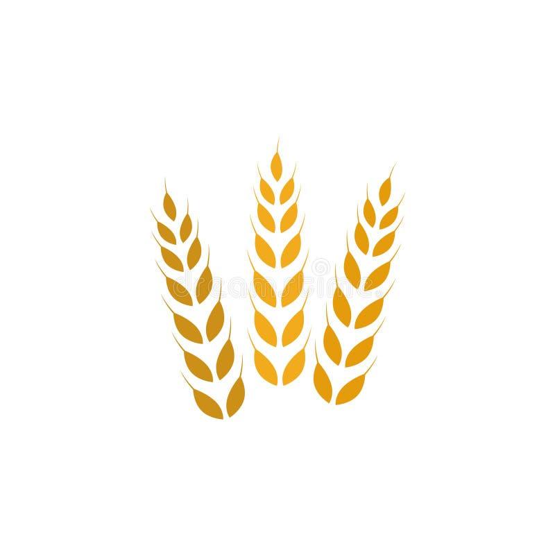 Åkerbruk symbol eller logo, guld- vetetecken royaltyfri illustrationer