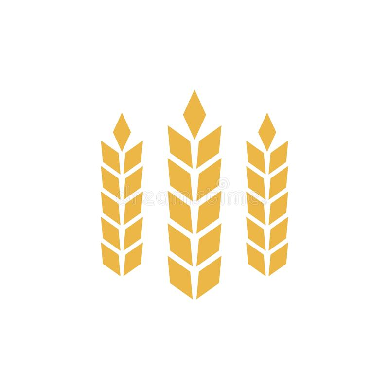 Åkerbruk symbol eller logo, guld- vetetecken stock illustrationer