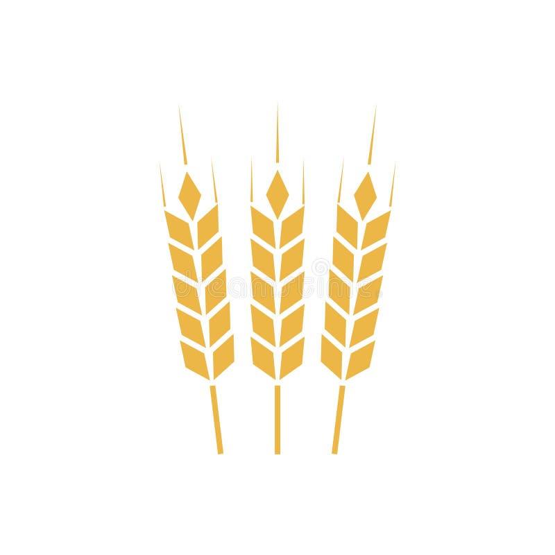 Åkerbruk symbol eller logo, guld- vetetecken vektor illustrationer