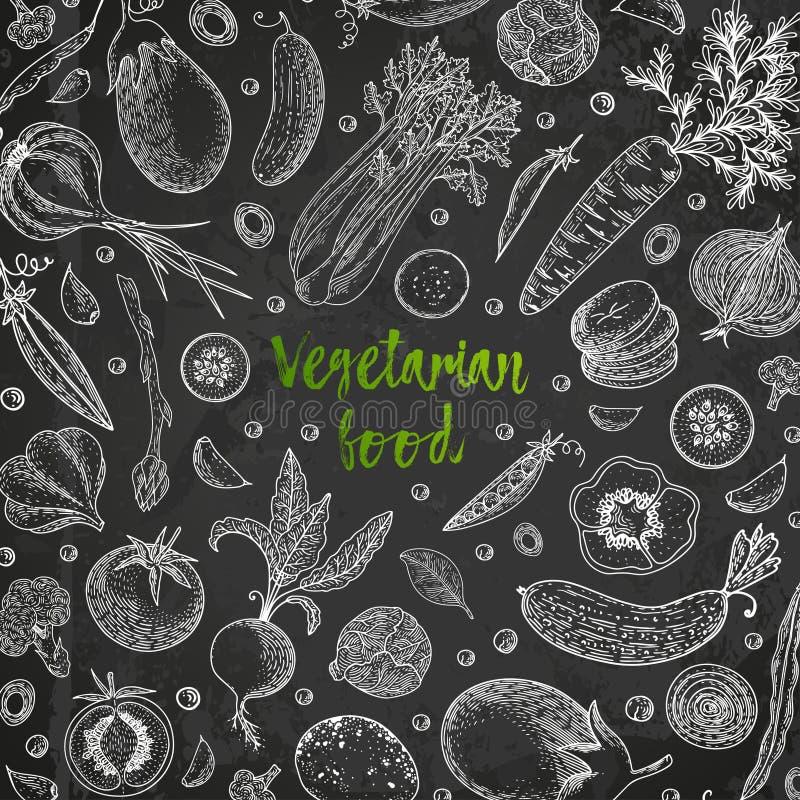 åkerbruka produktgrönsaker för ny marknad Hand dragen illustrationram med grönsaker Lantgårdmarknadsprodukt Stor sund matdesignma royaltyfri illustrationer