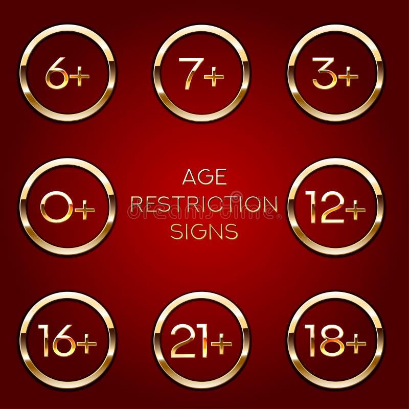 Ålderbegränsning av det vuxna innehållet Appsymbol för åldersgränser Guld- på mörkt vektortecken vektor illustrationer