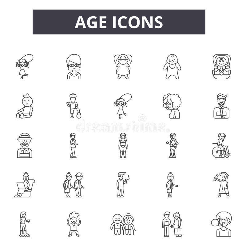 Ålderlinje symboler Redigerbart slaglängdtecken Begreppssymboler: kvinna, kvinnlig, person, mogen, åldras lycklig pensionär, man  stock illustrationer