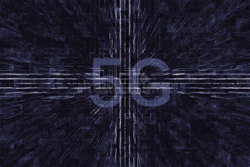 Åldern 5G i fyrkanten 3D royaltyfria foton