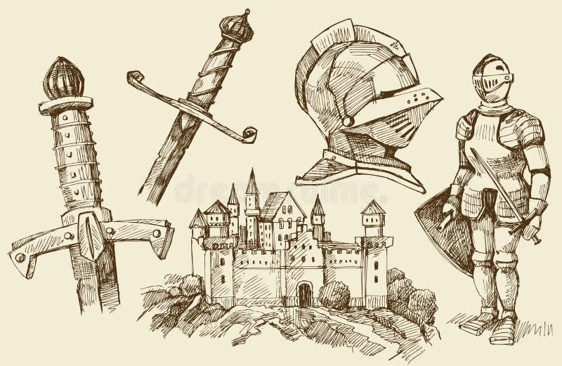 åldern klottrar mitten royaltyfri illustrationer