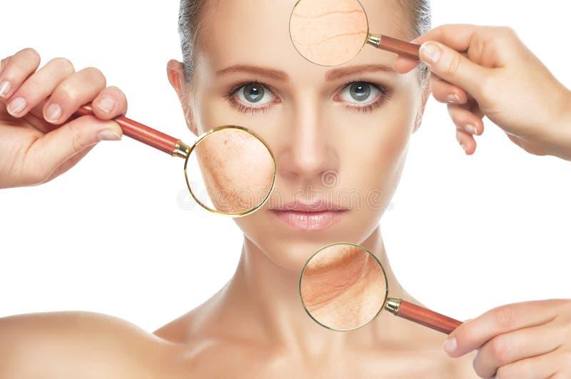 Åldras för skönhetbegreppshud anti--åldras tillvägagångssätt, föryngring och att lyfta, åtdragning av ansikts- hud arkivbild