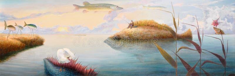 åldrig drömma fiskare royaltyfri illustrationer