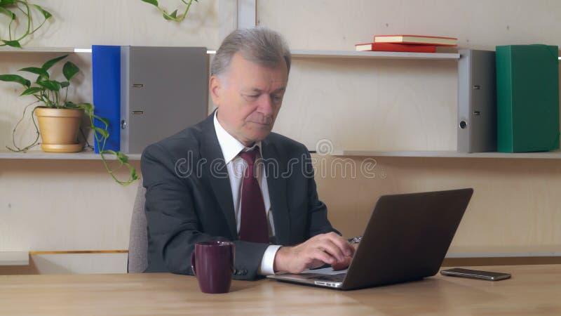 Åldrig entreprenör för mitt som använder PC på arbete royaltyfri bild