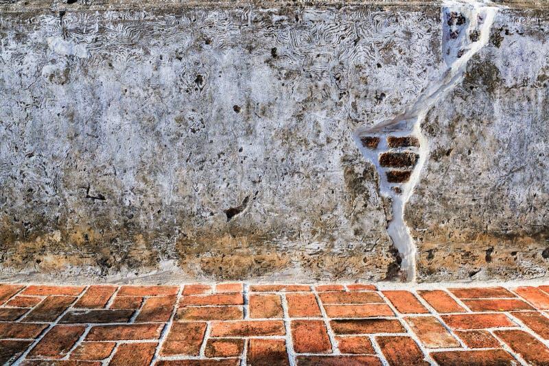 Åldrig gatavägg och golvbakgrund, textur royaltyfri fotografi