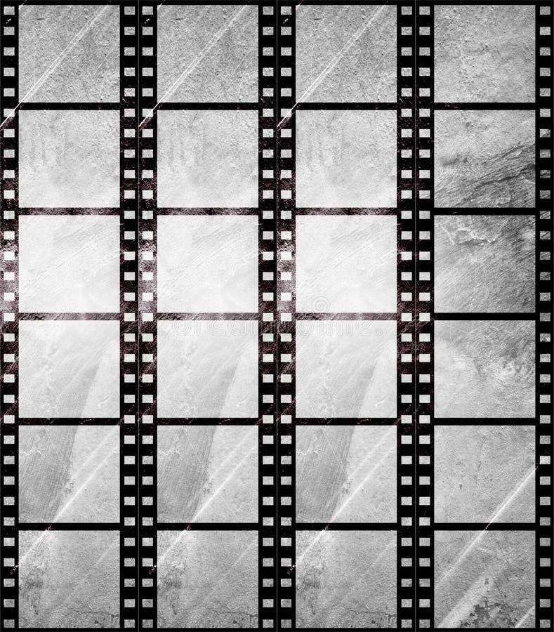 åldrig stil för filmgrungeremsa stock illustrationer