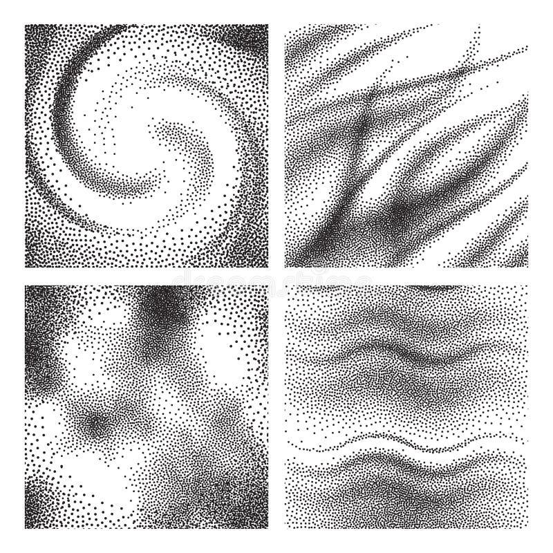 Åldriga korntexturer Grained rostig dammförfallbakgrund Uppsättning för partiklar för rastrerad grunge för sandoväsentappning sva royaltyfri illustrationer