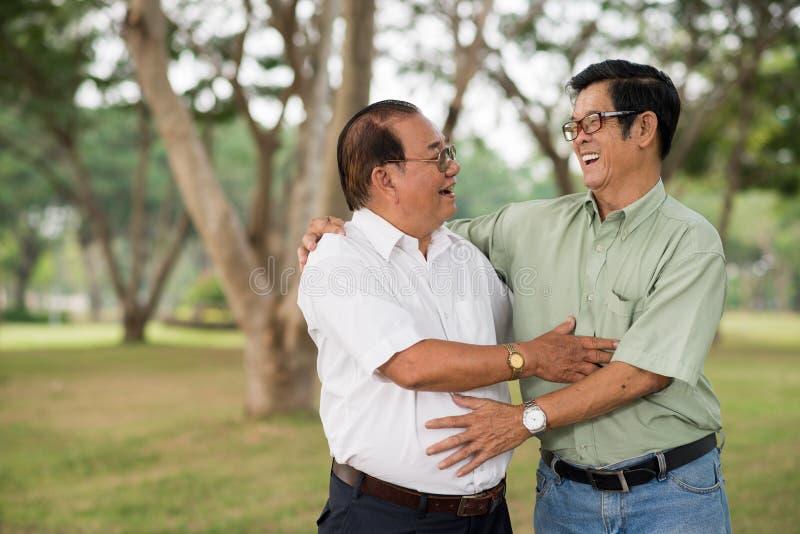 Åldriga manliga vänner royaltyfria foton