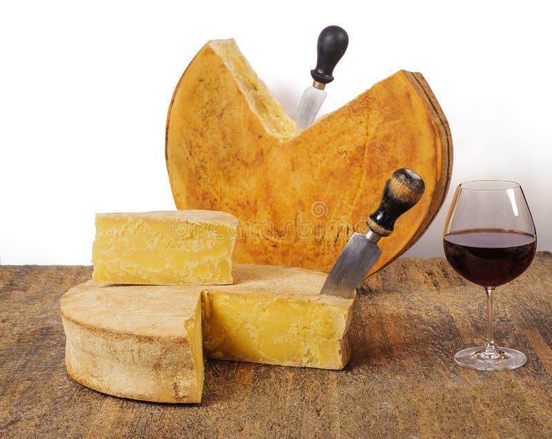 Åldriga ostar med vin royaltyfri fotografi