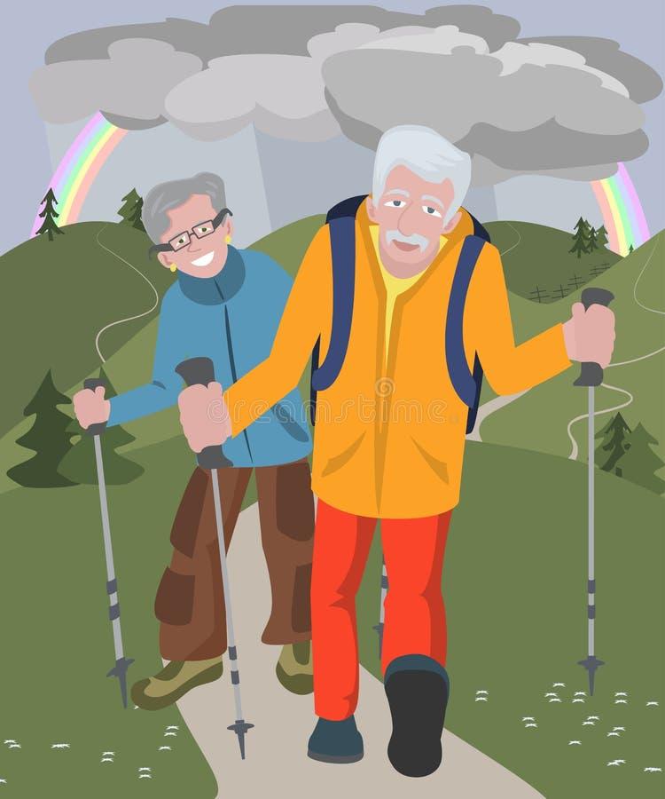 Åldriga par som fotvandrar på kullar på regnigt väder stock illustrationer