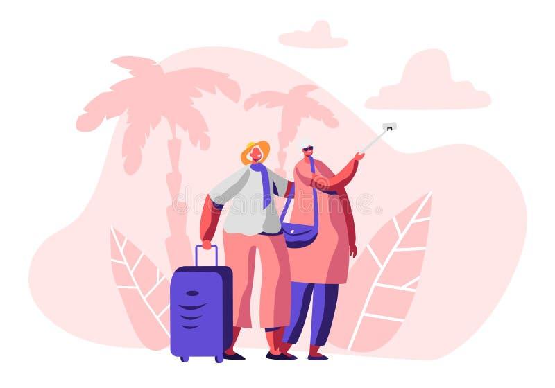 Åldrigt gift par som gör Selfie i exotisk landsresandetur Den gladlynta äldre mannen och kvinnan med bagage i resa turnerar stock illustrationer