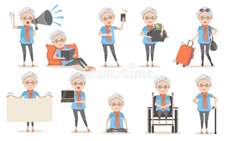 Åldringen poserar stock illustrationer