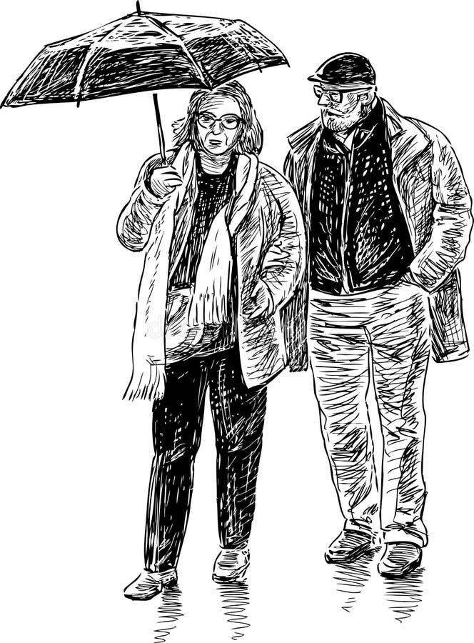 Åldringpar med ett paraply royaltyfri illustrationer