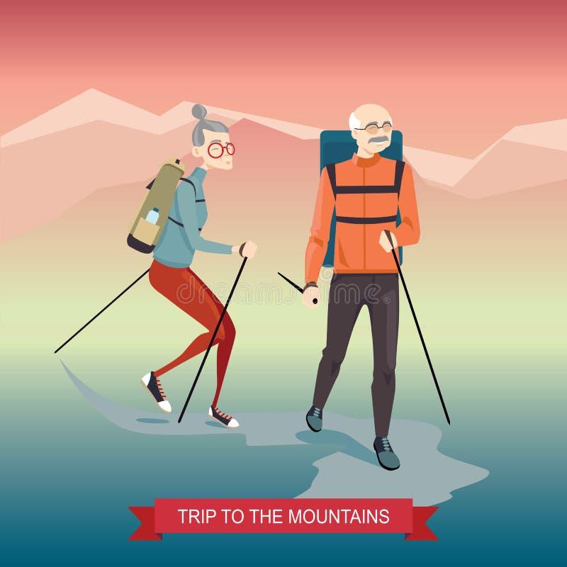 Åldringpar som går i bergen vektor illustrationer
