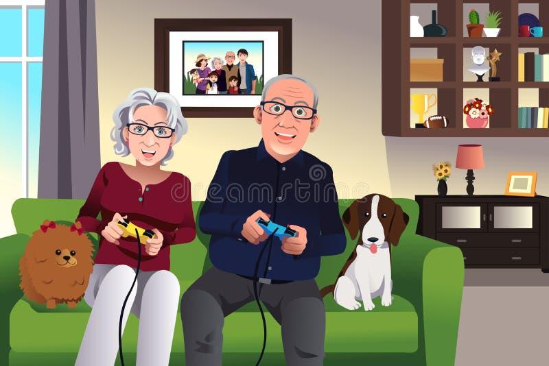 Åldringpar som hemma spelar lekar royaltyfri illustrationer