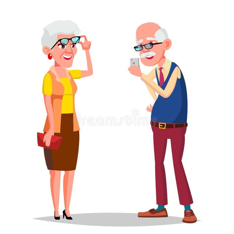 Åldringparvektor Moderna morföräldrar mening lyckligt igen europeiskt Isolerad plan tecknad filmillustration stock illustrationer