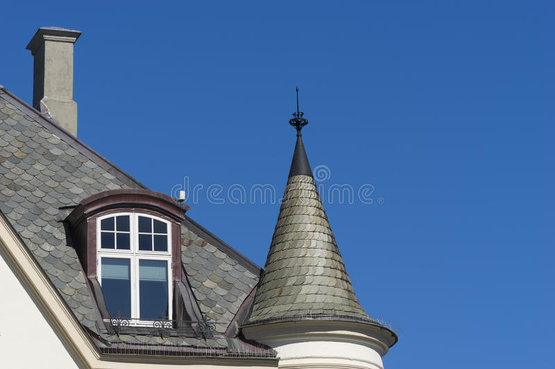 Ã…lesund, Norway - Detail of a Typical Art Nouveau House Facade. The Norwegian town of Ã…lesund is famous for high concentration of Art Nouveau stock photo